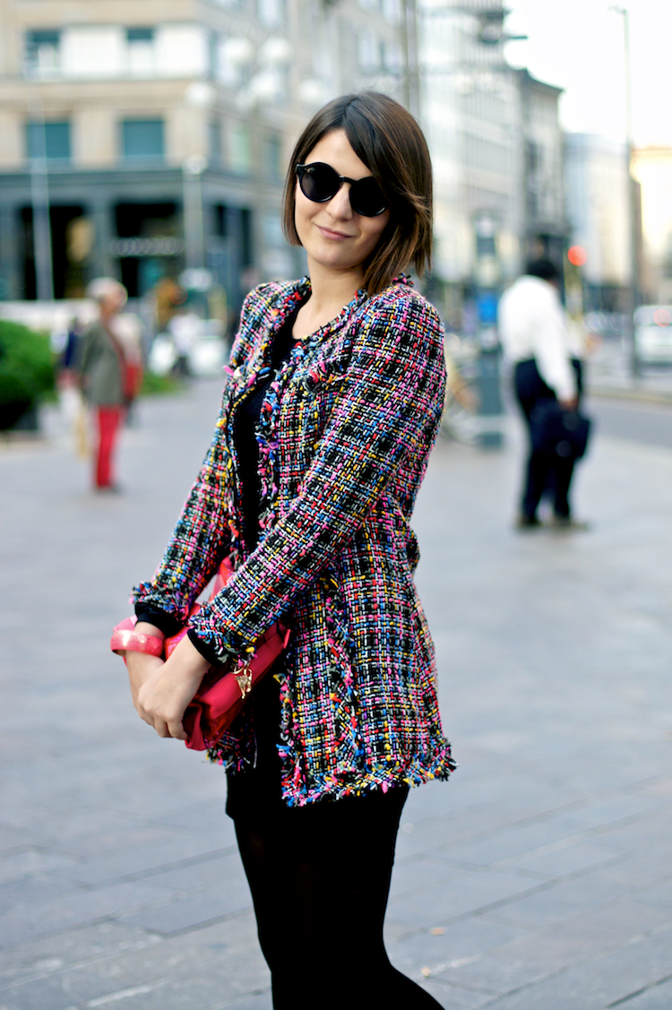 streetstyle milano tweed coat