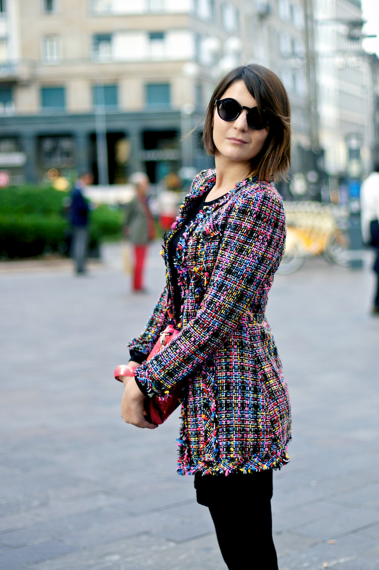 Irene Buffa wearing a tweed coat