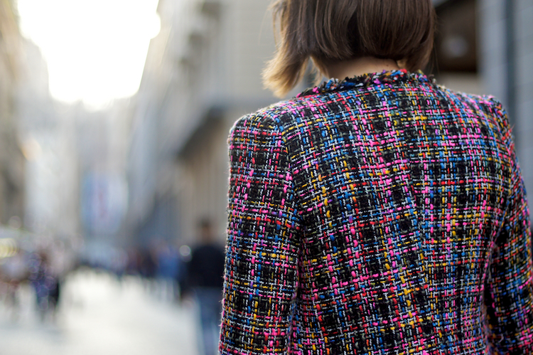 tweed coat, street style, jacket detail, giacca colorata tweed stile chanel