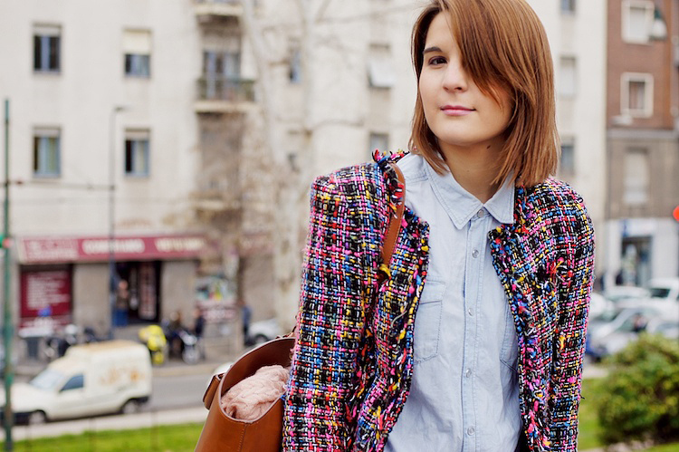 tweed coat and jeans shirt