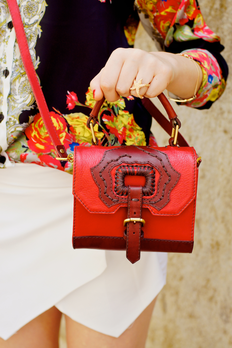 Anya Sushko Red Rose Gem handbag