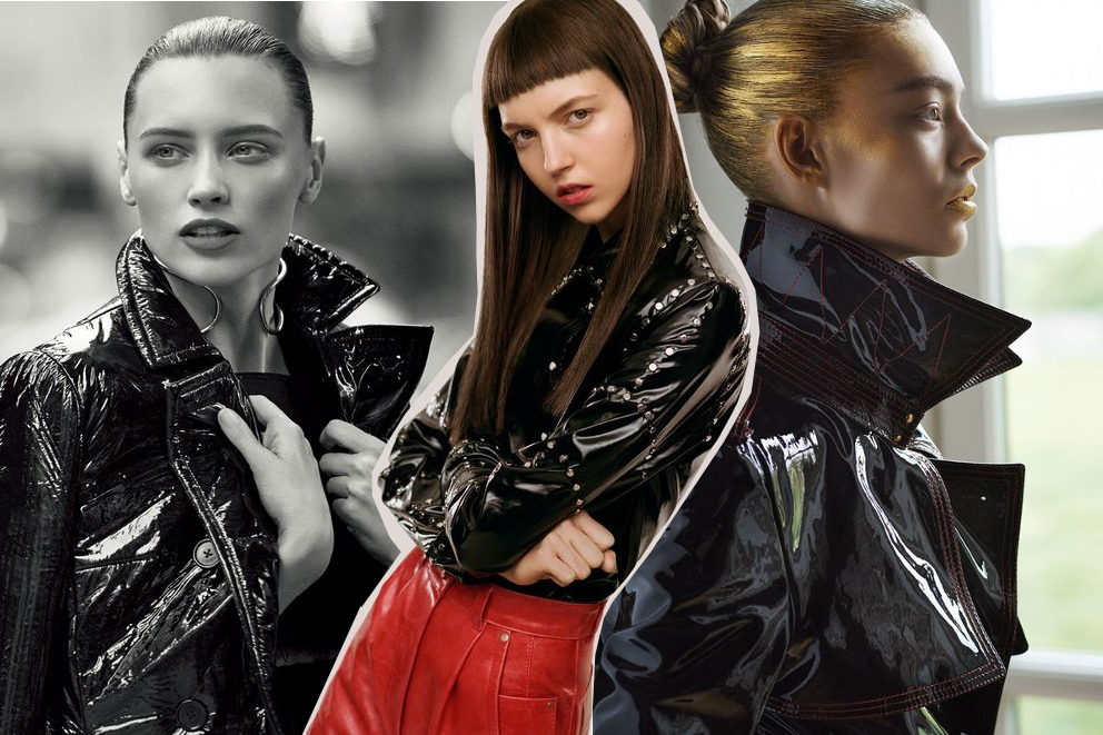 Vinyl Inspiration: editorial images of trench coats, skirts, trousers